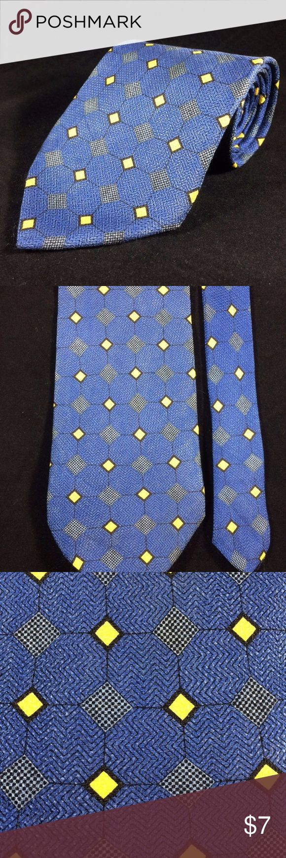 ADDENDUM Mens Tie Blue Yellow Diamonds Silk