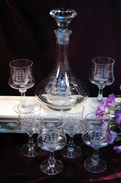 antique etched crystal stemware | Vintage Toscany Etched Crystal Ship Decanter and Glass Set Father's ...