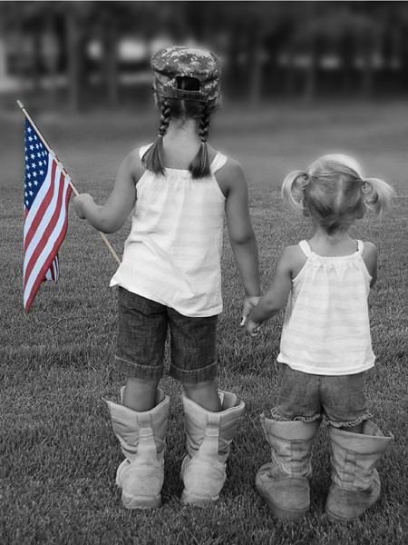 #patriotic kids in their dad's boots  love the braids and piggies!!  (looks like Lex from behind...)