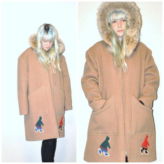 1960s RETRO parka / vintage 60s FUR trim hooded Inuit Eskimo Catherine Olejnik long tan wool ANORAK coat