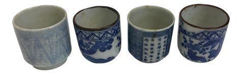Japanese Porcelain Sake Cups - Set of 4 on Chairish.com