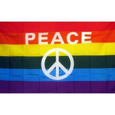 NeoPlex Rainbow Peace Sign Novelty Traditional Flag