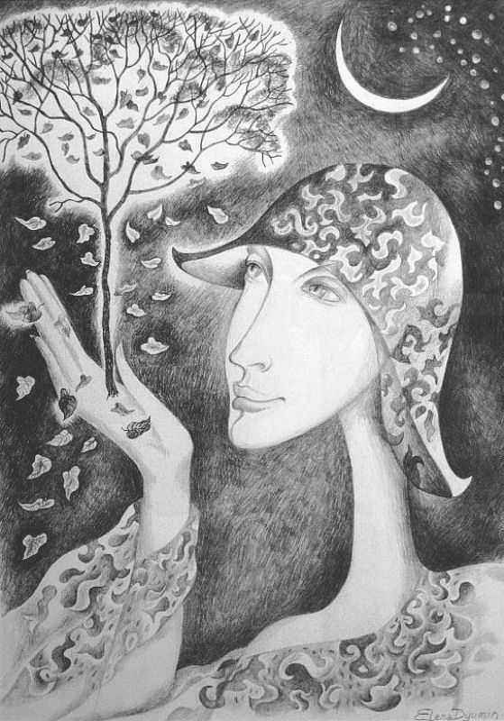 """Moon Vision II"" - #pencil on #paper #drawing by Yelena Dyumin - www.dyuminart.com #dyuminart"