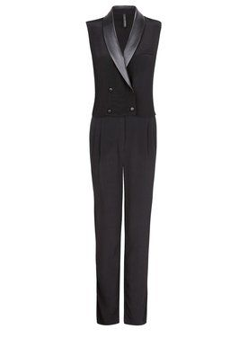 Mango shaped its tuxedo as a black, sleeveless jumpsuit complete with leather lapels. ($119.99 at the Mango store in Santa Monica or