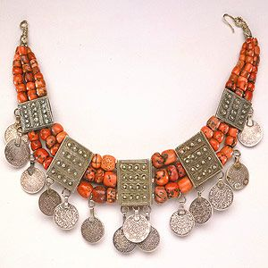 Africa | Berber necklace, Morocco | Silver, coins and coral
