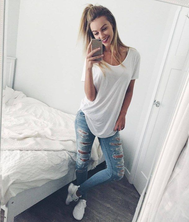 blonde, casual, clothes, fashion, kicks, nike, ripped jeans, selfie, shoes, smile, style, white tee, juvenate, melissa merk