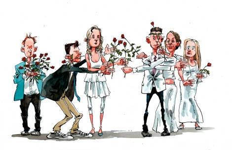 Konfirmanderne er gået over til røde roser