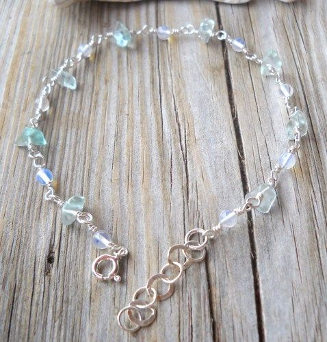 925 Sterling Silver Blue Topaz,Moonstone Anklet | pavlos - Jewelry on ArtFire