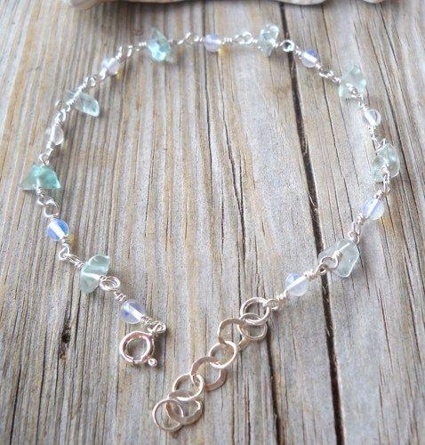 925 Sterling Silver Blue Topaz,Moonstone Anklet | pavlos - Jewelry on ArtFire