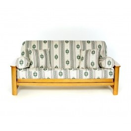 Alamo Futon Cover  $124.00 Green, navy and burgundy symmetrical shapes in a southwestern feeling woven fabric on Ivory background. #futon cover #futon covers #futon