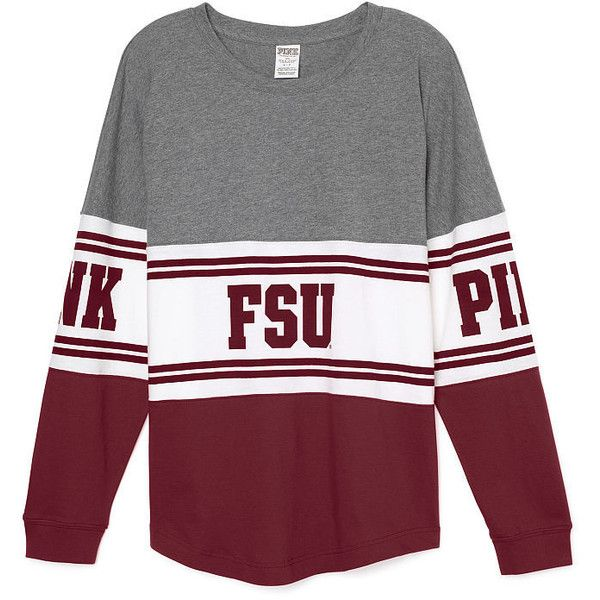 PINK Florida State University Varsity Crew ($65) ❤ liked on Polyvore featuring tops, t-shirts, print, slouchy tee, graphic print tee, print t shirts, pink top and oversized graphic tees