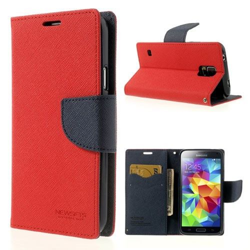 Mercury GOOSPERY Fancy Diary Case Leather Cover for Samsung Galaxy S5 G900 - Dark Blue / Red