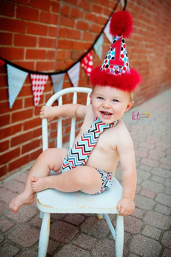 Chevron Boys Birthday Party Hat, Diaper Cover, Tie - First Birthday, Smash Cake Pics, Photo Prop - Red Aqua Teal Black Charcoal. $52.00, via Etsy.