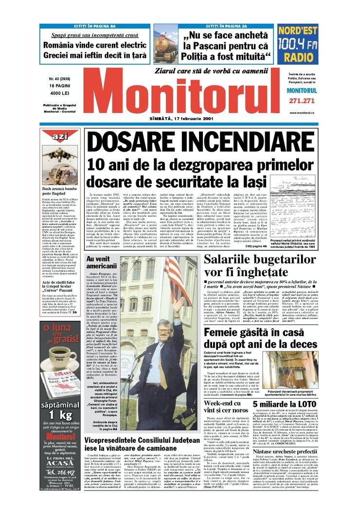 Monitorul din 17 februarie 2001, 10 ani de la deygroparea primelor dosare de securitate la Iasi