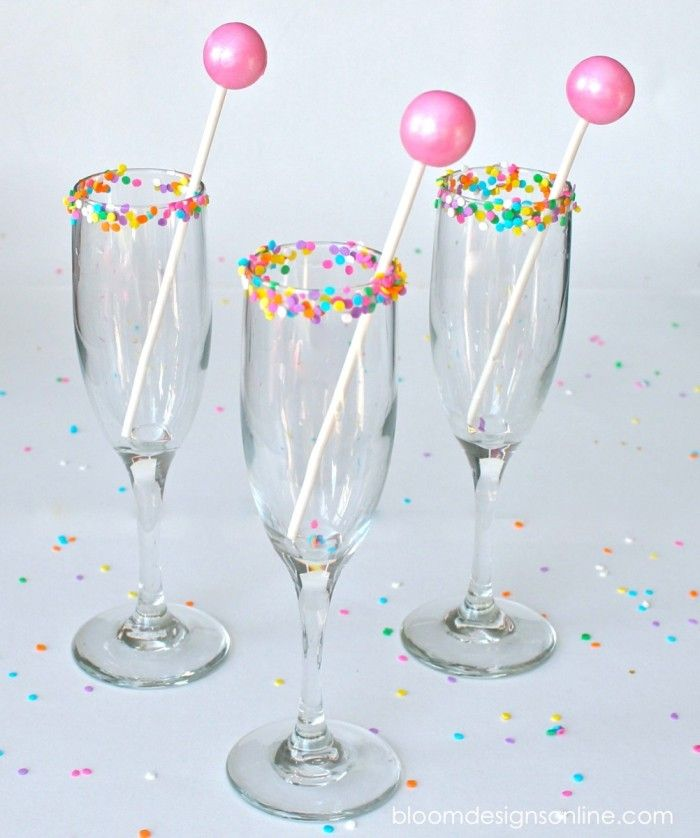 For the kids. Gumball drink stirrers and sprinkles around the rim. Make It Monday- Glammed Up Glasses