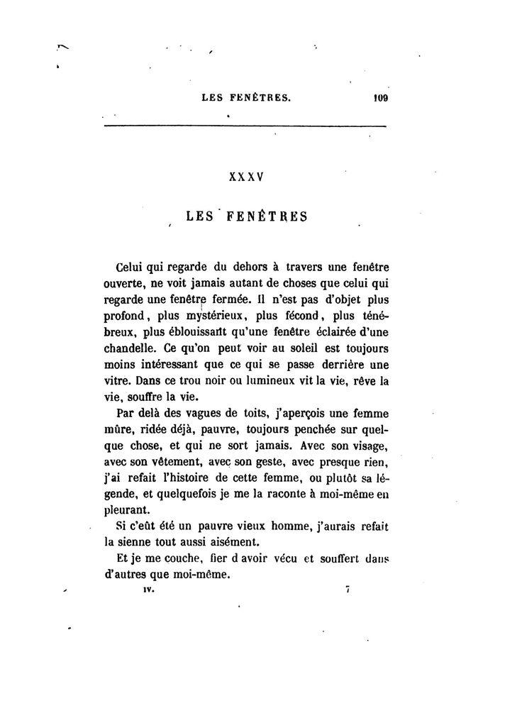 Baudelaire Les Fen 234 Tres Le Spleen De Paris