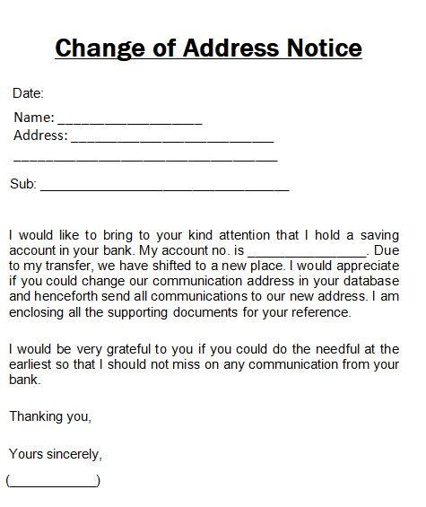 change of address notice template sampleformats org pinterest