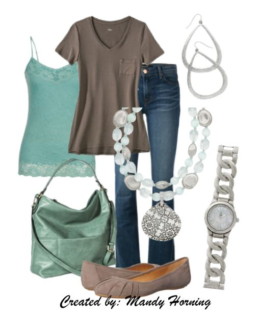 feat. Premier Designs jewelry #pdstyle mint cami, taupe tee, mint bag, taupe flats For more jewlery information, visit my webpage and Premier Designs Catalogs here: http://tracyssparkle.mypremierdesigns.com/ Access code: 1Love