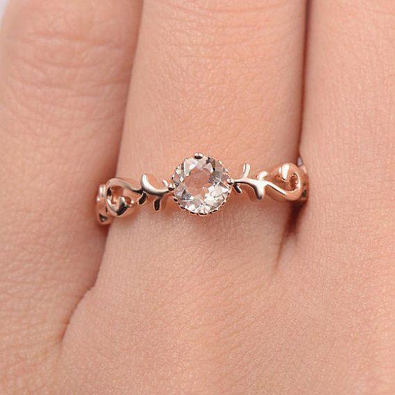 Bridal Ring Morganite Engagement Ring Rose Gold Diamond Wedding