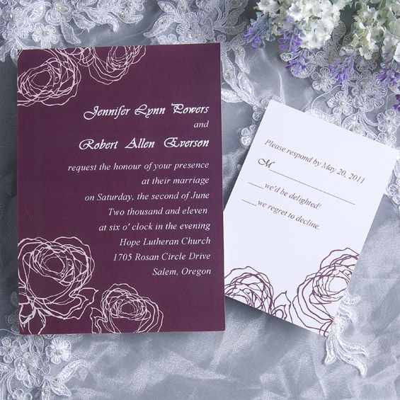 vintage plum rose elegant wedding invitation cards online EWI142 as low as $0.94