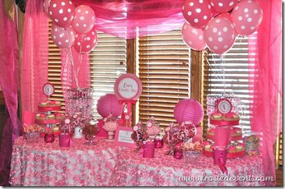 Pink Dots First Birthday Party Candy Bar Dessert Buffet