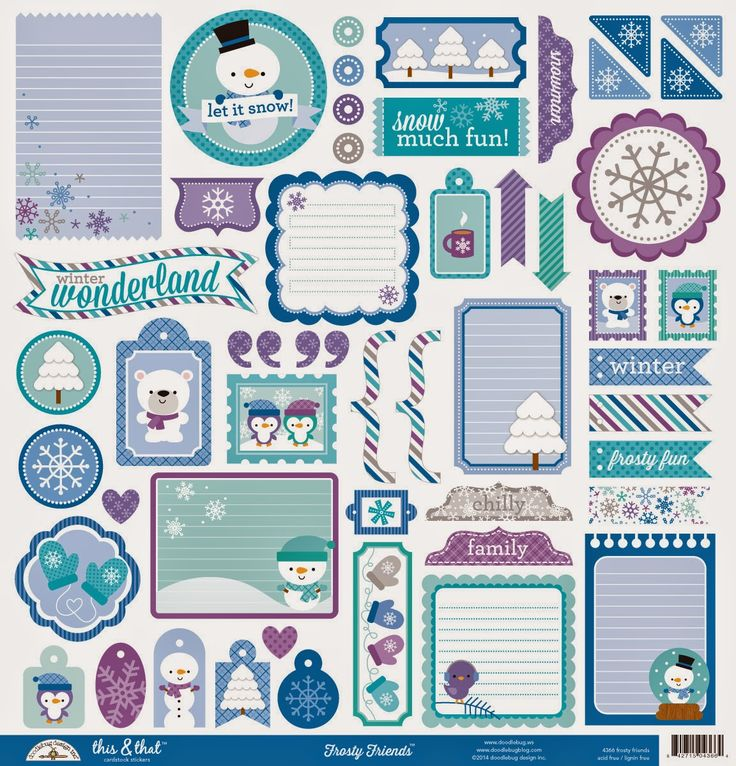 Doodlebug design frosty friends collection christmas 12 x 12 cardstock stickers