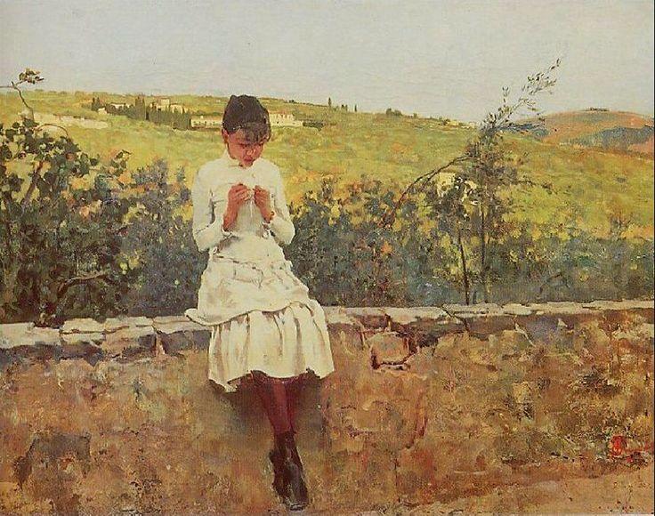 """""""Sul colle a Settignano"""" (1885)   Telemaco Signorini"""
