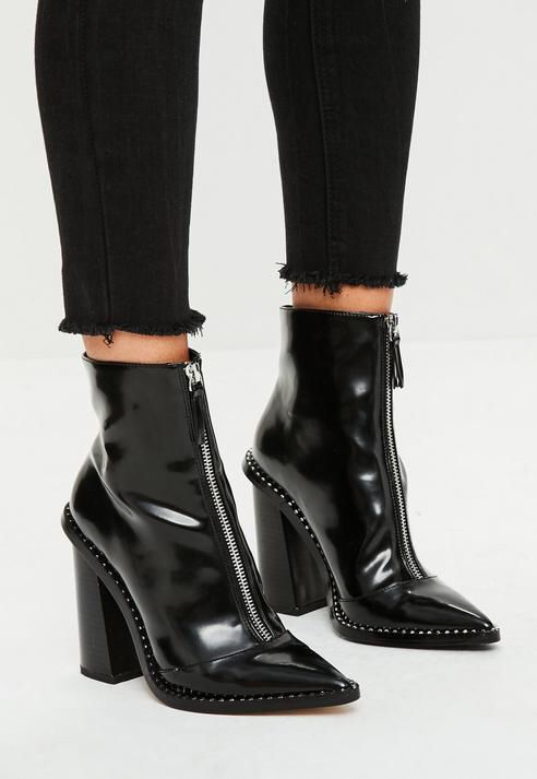 Black Front Zip Pointed Ankle Boots, Black