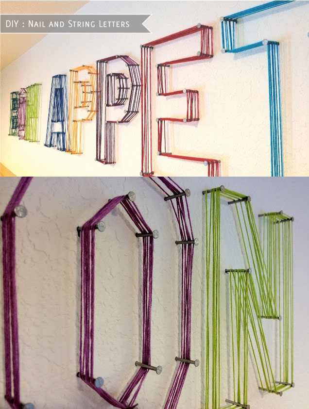 String letters on the wall...so fun!