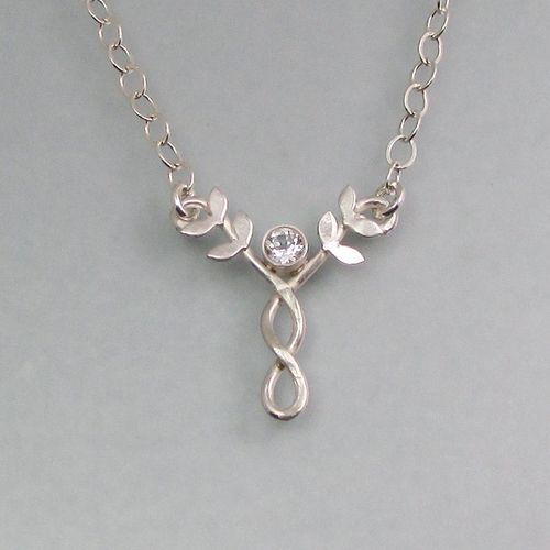White topaz Celtic braided vine necklace with heart leaves in sterling silver by Kryzia Kreations
