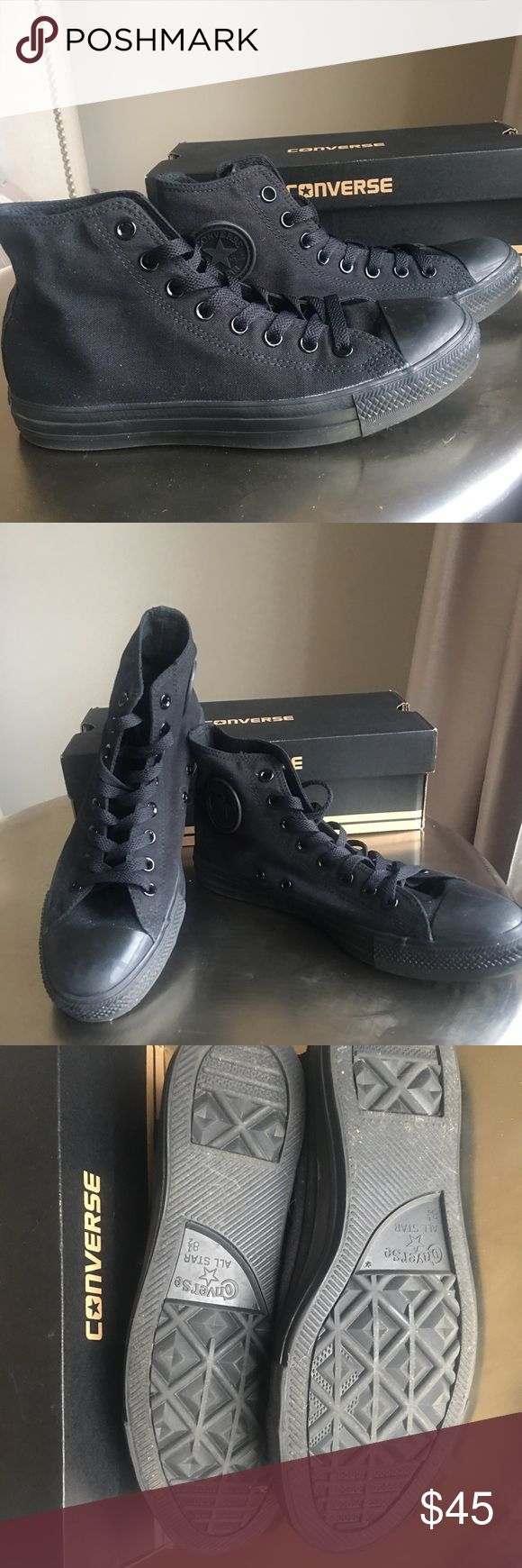 Black on black converse high-top. Men's 8 1/2 Black canvas. Black rubber toe. Worn only once. Men's size 8.5. Women's 10.5 Converse Shoes Sneakers