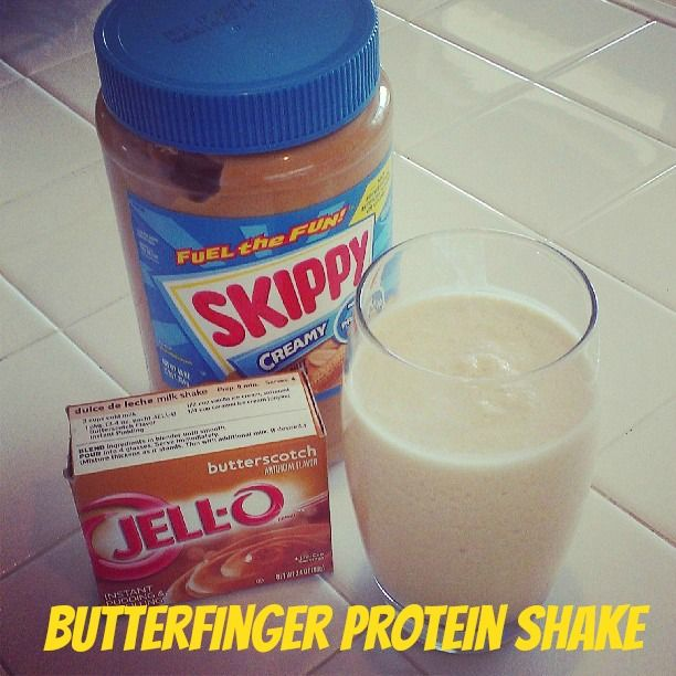 Butterfinger Protein Shake-To Make this shake just blend together:      1 cup ice     8 oz water     1 scoup Vanilla Protein Powder     1 Tbsp. Peanut Butter     1 Tbsp. Butterscotch pudding mix (use sugar free to reduce calories)