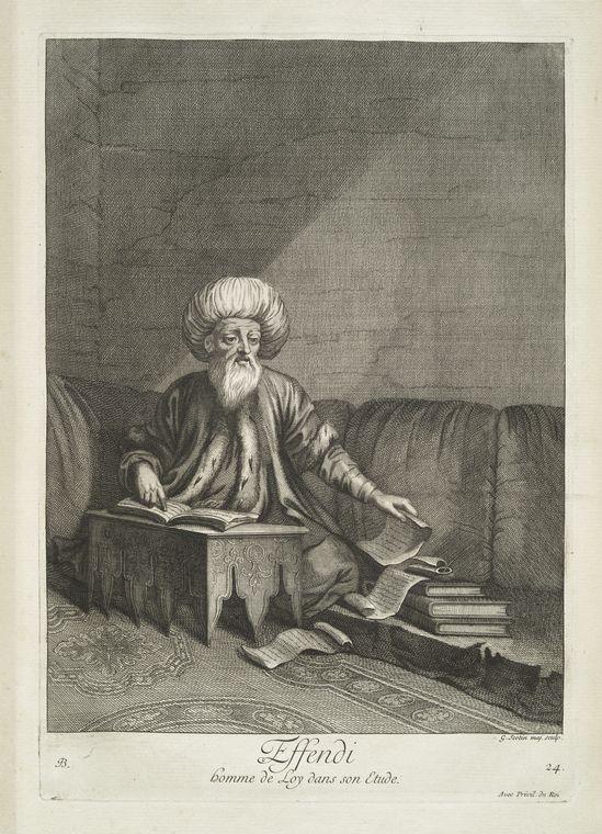 van mour-Effendi, homme de loy dans son etude (1714)Jean-Baptiste van Mour'un (1671 – 1737) altında basılan Osmanlı gravürleri.