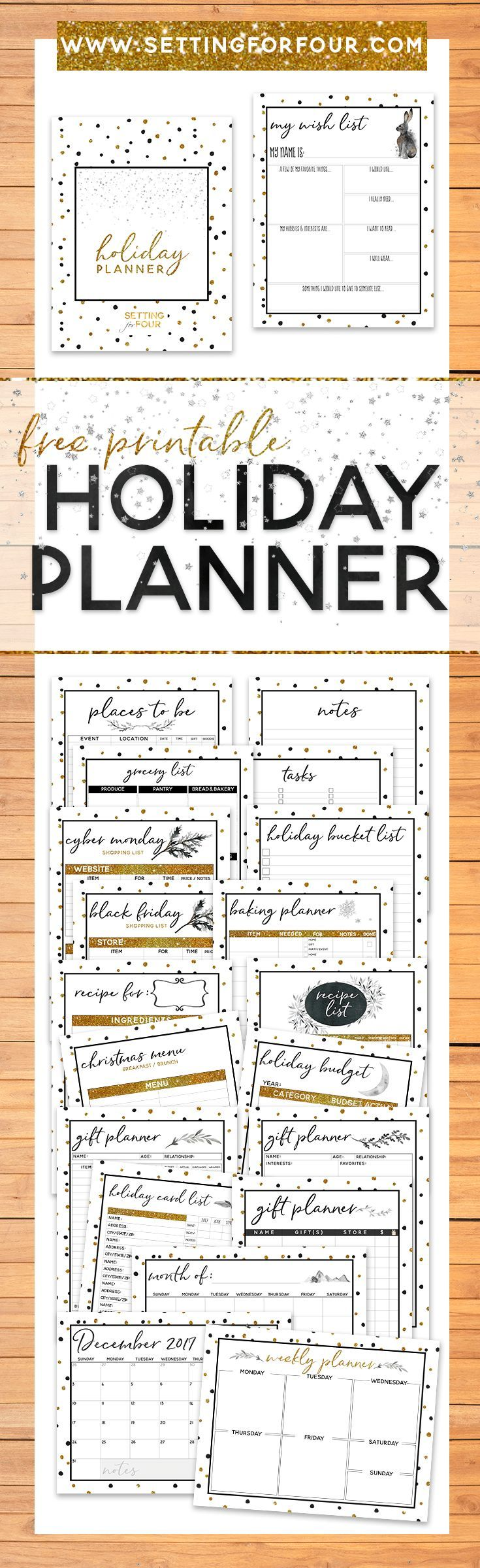 Take the stress out of the holidays, get organized and STAY SANE with this FREE Holiday Planner Pack that includes 27 Free Printable Pages to plan Christmas! You won't forget a thing this holiday and you'll love the CHIC gold, black and white sparkly design!Includes FREE printable checklists & tracking sheets for gift lists, menus, places to be and calendars too! #free #holiday #christmas #planner #printable #organization