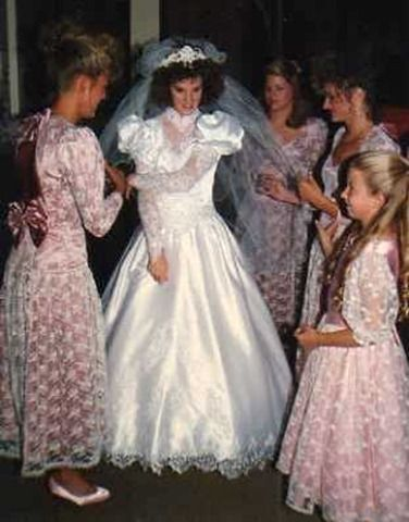 80's wedding - the bridesmaides wore Gunne Sax dress with lace and bows