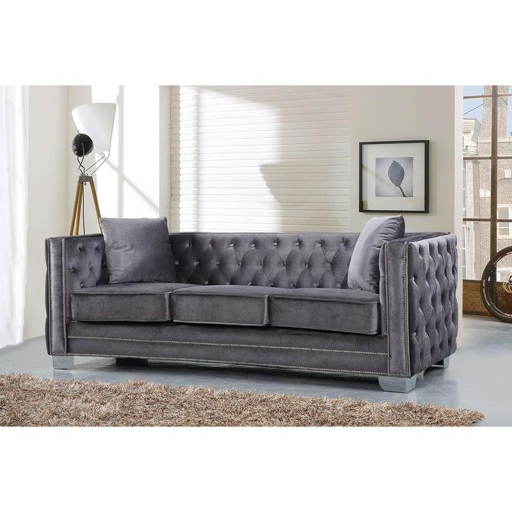 Grey Velvet Sofa W Tufted Back Arms On Metal Legs Dynamichome Grey