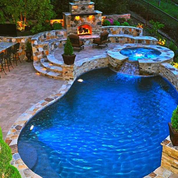 Fire pit + Hot tub + Pool = Dream Home by @interiordesign_lovers was liked by the outdoor wicker furniture experts!