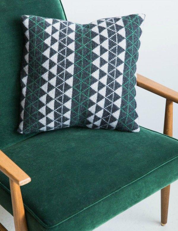 Green and Grey Geometric Cushion