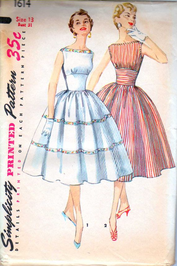 Rockabilly 50's Boatneck Dress Size 13 Simplicity by retromonkeys, $18.00