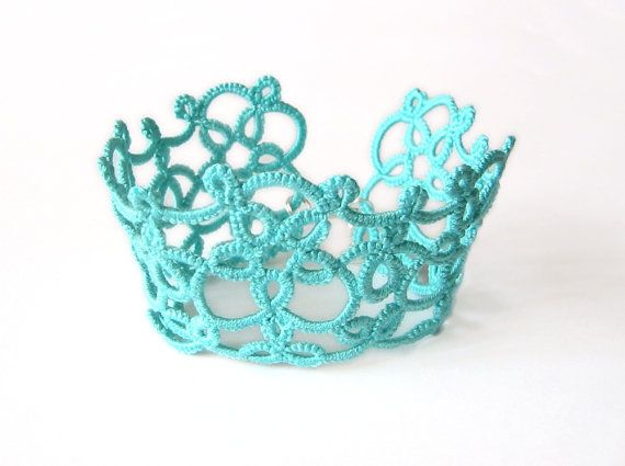 Turquoise tatted lace cuff Fantasy jewelry Aqua by LandOfLaces