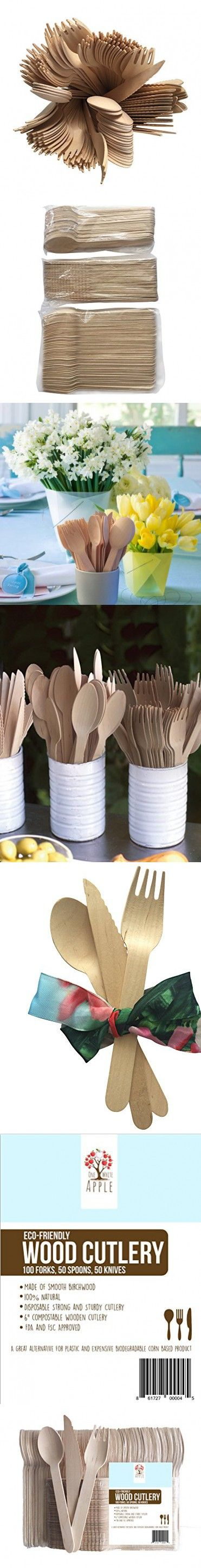 """Wooden Disposable Cutlery set- 200pc, 100 Forks, 50 Spoons, 50 Knives, 6"""" Length Eco-Friendly Biodegradable Compostable utensils GO GREEN!"""