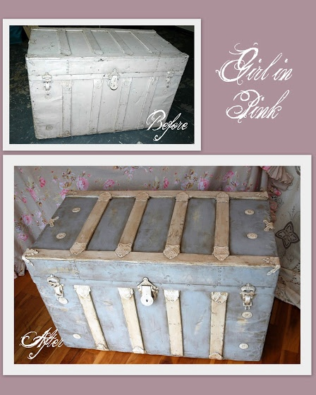 Painted Wood Amp Metal Trunk With Chalk Paint 174 Paris Grey