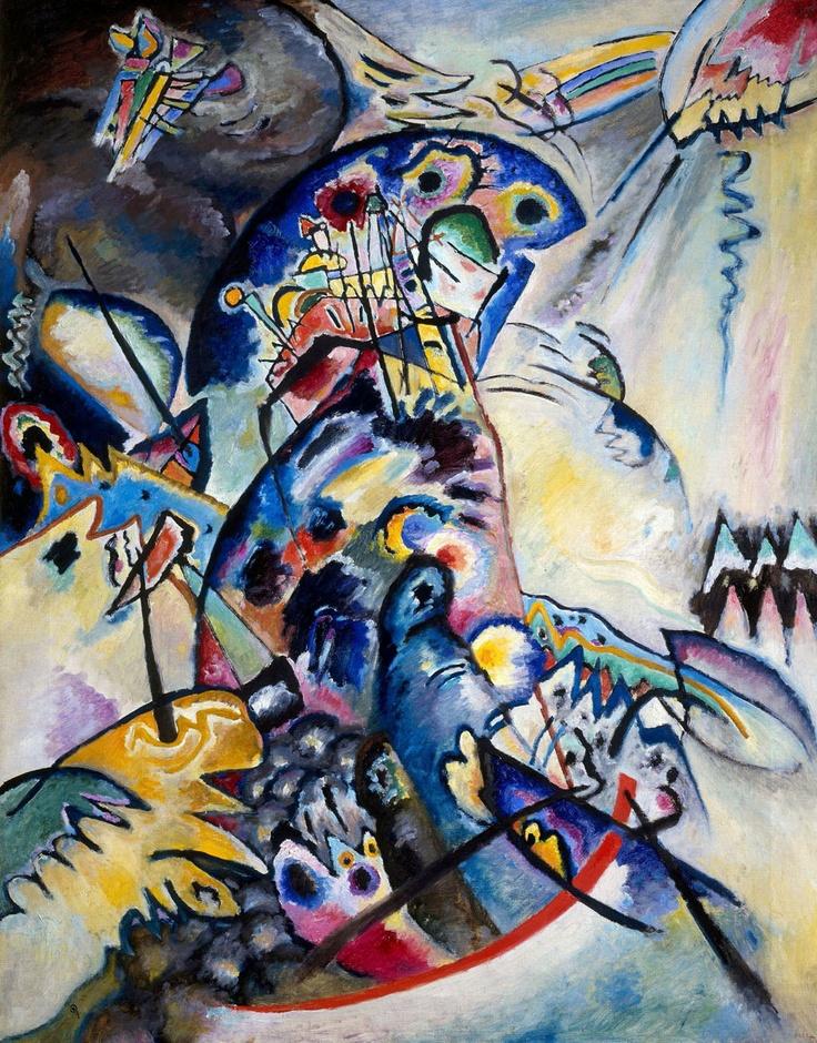 Wassily Kandinsky, Cresta azzurra, 1917, olio su tela, San Pietroburgo, Museo di Stato Russo
