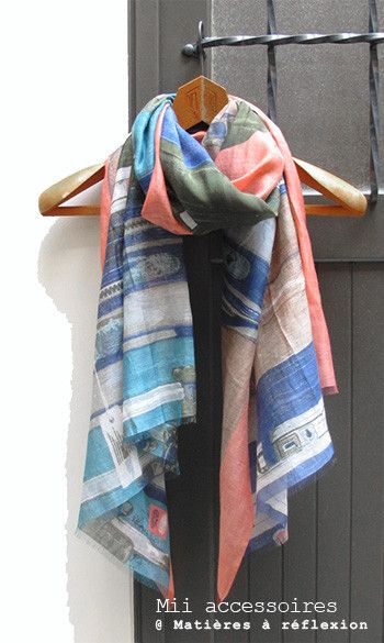 Mii Foulard Valise Corail coton/soie #mii #foulard #scarf #valise #corail #cotton #coton #soie #silk #bleu #orange #blue #beige #ss15 #onsale #sales #soldes #promo