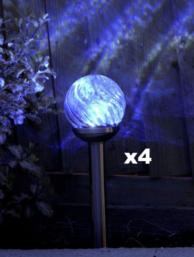 Solar Garden Lights Outdoor Light 4 LED Stake Decor Orion Glass Stainless Steel