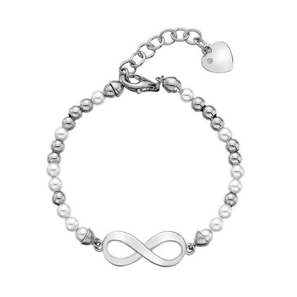 Looking for a contemporary uplift to your jewellery collection? A stylish infinity symbol, measuring 21mm x 10mm, is married with a bead and pearl bracelet craf