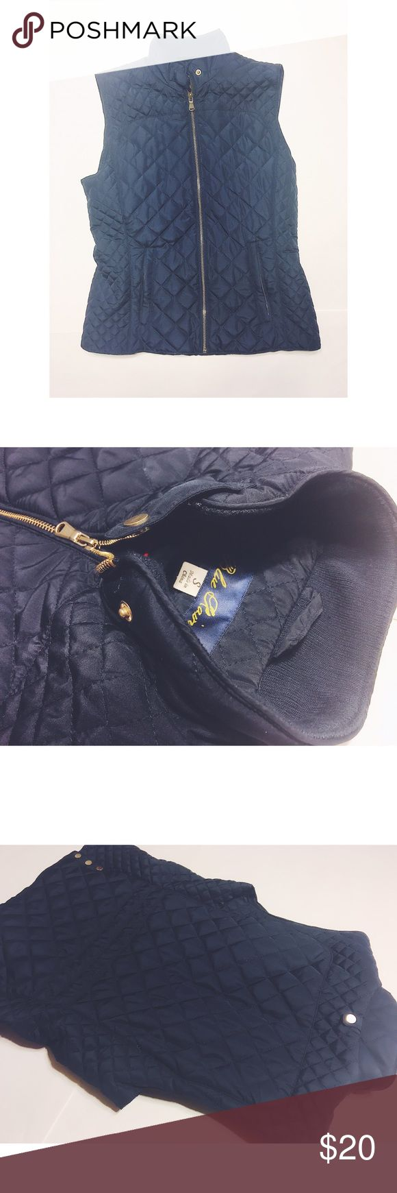 Navy Blue Vest Brand: Blue Rain (Francesca's)  •Beautiful navy blue high quality vest with gold zippers  •Buttons as neck, very comfortable, flawless Francesca's Collections Jackets & Coats Vests