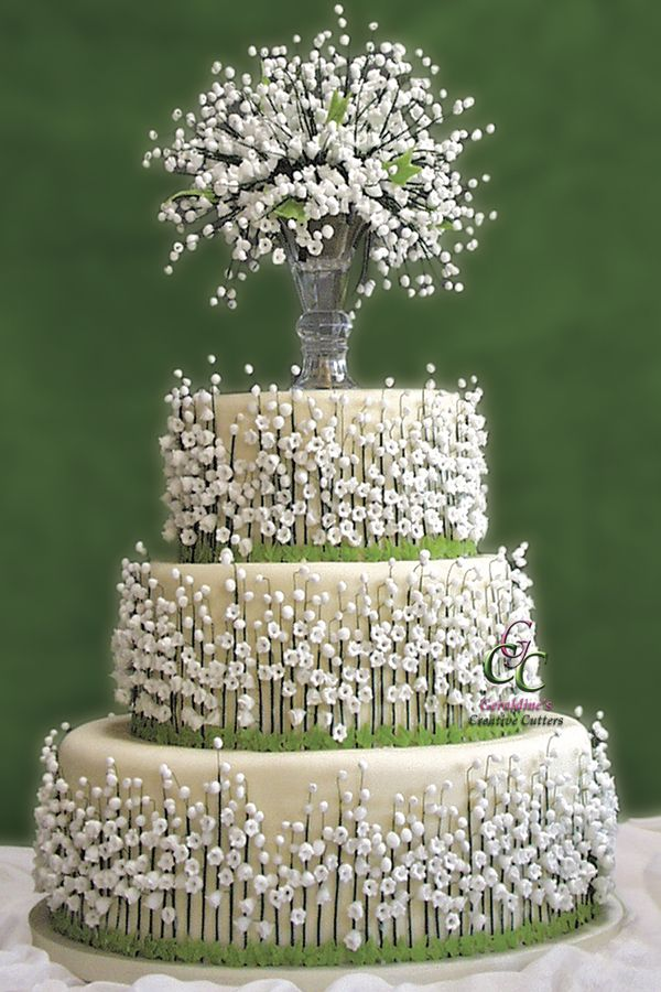 Lily of the Valley Wedding Cake Tablescape Centerpiece www.tablescapesbydesign.com https://www.facebook.com/pages/Tablescapes-By-Design/129811416695