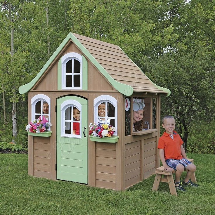 Outdoor Wooden Playhouse Childrens Kids Play House Kitchen Cottage Shed Backyard | eBay