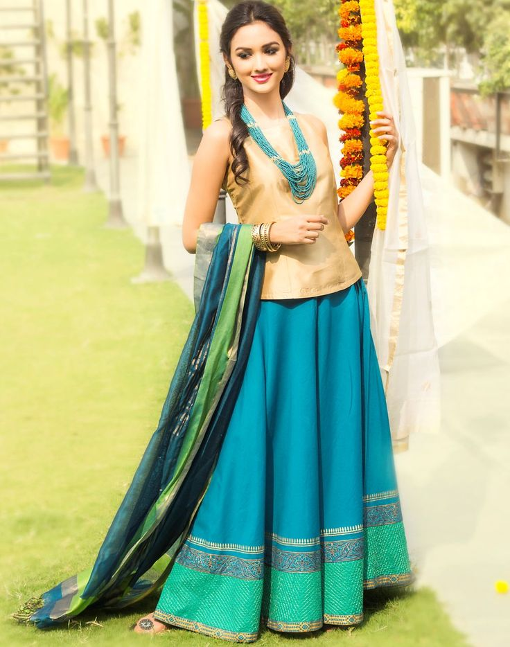 #dressing-up #festive #turquoise #skirt #top #dupatta #gold #neckpiece #accessories #blue #women #fashion # clothing #fusion #Fabindia